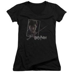 Harry Potter - Juniors Harrys Wand Portrait V-Neck T-Shirt