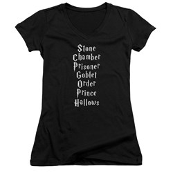 Harry Potter - Juniors Titles V-Neck T-Shirt