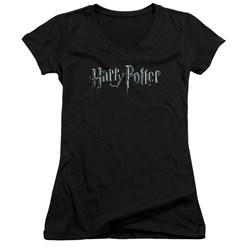 Harry Potter - Juniors Logo V-Neck T-Shirt