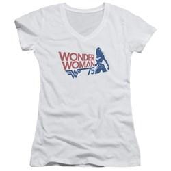 Wonder Woman - Juniors Ww75 Silhouette V-Neck T-Shirt