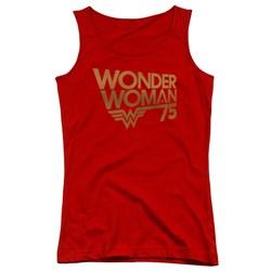 Wonder Woman - Juniors Wonder Woman 75Th Anniversary Gold Logo Tank Top