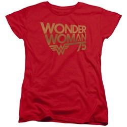 Wonder Woman - Womens Wonder Woman 75Th Anniversary Gold Logo T-Shirt
