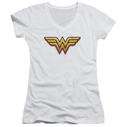 Wonder Woman - Juniors Airbrush Ww V-Neck T-Shirt