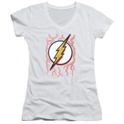 Dc Flash - Juniors Airbrush Bolt V-Neck T-Shirt