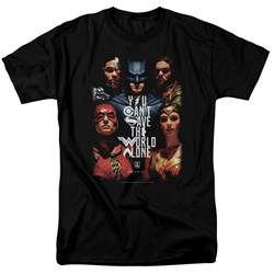 Justice League Movie - Mens Save The World Poster T-Shirt