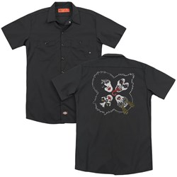 Kiss - Mens Rock And Roll Heads (Back Print) Work Shirt