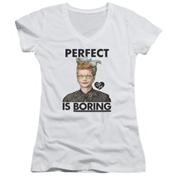I Love Lucy - Juniors Perfect Is Boring V-Neck T-Shirt