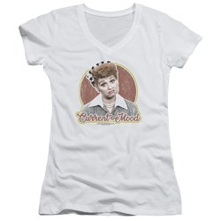 I Love Lucy - Juniors Current Mood V-Neck T-Shirt