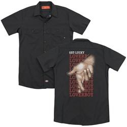 Loverboy - Mens Fingers Crossed (Back Print) Work Shirt