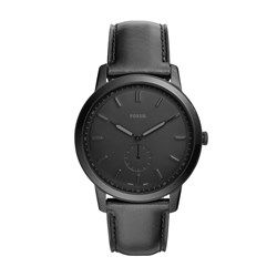 Fossil The Minimalist Two-Hand Black Leather Watch - FS5447