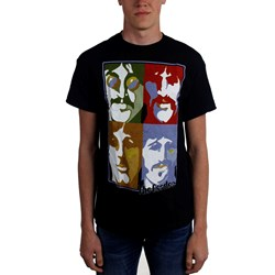 Beatles, The - Mens Striped Poster Faces T-Shirt