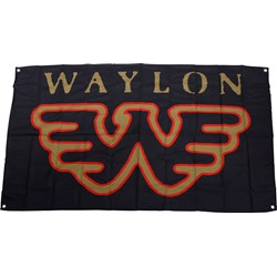 Waylon Jennings - Flying W Flag Fabric Poster