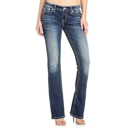 Miss Me - Womens M3216B Angel Wing Mid-Rise Boot Cut Jeans