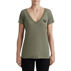 True Religion - Womens Classic Logo Deep V Neck T-Shirt
