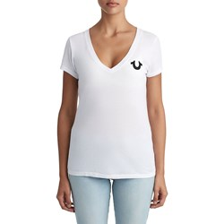 True Religion - Womens New Logo Deep V Neck T-Shirt