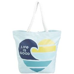 Life Is Good - Unisex-Adult Wave Heart Sunny Day Beach Bag Tote Bag