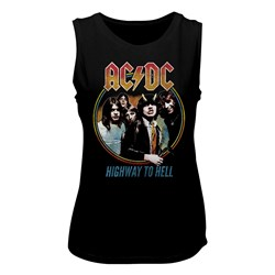 Ac/Dc - Womens Highway To Hell Tricolor Muscle Tank Top