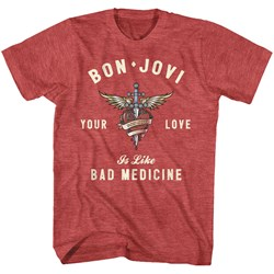 Bon Jovi - Mens Heart And Dagger T-Shirt