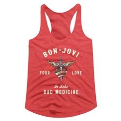 Bon Jovi - Womens Heart And Dagger Racerback Top