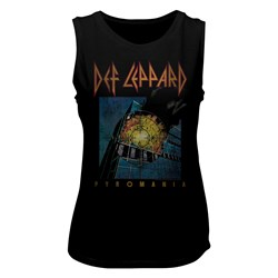 Def Leppard - Womens Faded Pyromania Muscle Tank Top