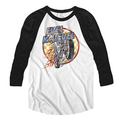 Evel Knievel - Mens Checks And Flames Baseball Tee
