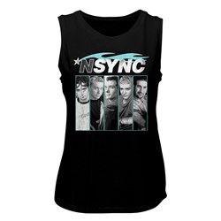 Nsync - Womens Blue Flame Muscle Tank Top
