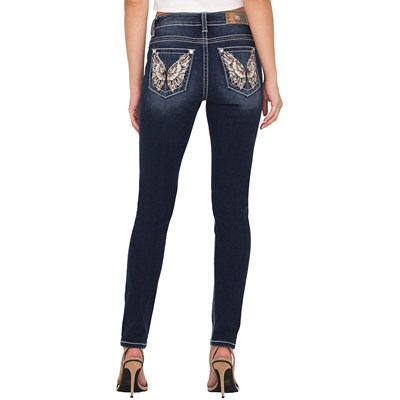 Miss Me Womens Mid-Rise Hailey Skinny Broader Embroidery Jeans