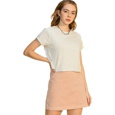 Hyfve - Womens Crew Neck Short Sleeve Crop With Raw Cut Details T-Shirt