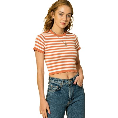 Hyfve - Womens Stripe Lettuce Edge Crop Knit Top