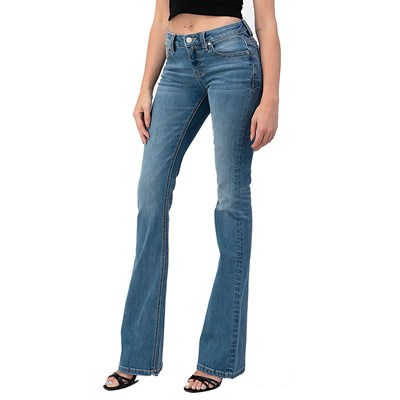 Sailey - Womens Fly Stitch Mix Embroidered Pocket Mid Rise Bootcut Jeans