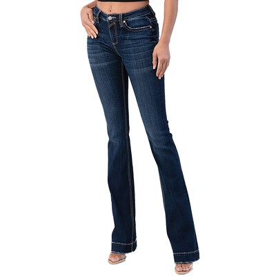 Sailey - Womens Satin Stitch Embroidered Pocket Mid Rise Bootcut Jeans