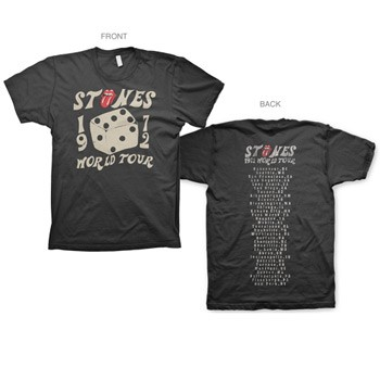 Rolling Stones - 1972 Dice 30/1 Enzyme Washed Mens T-Shirt In Black