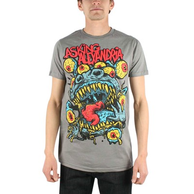 Asking Alexandria - Mens Eyeball Monster Slim Fit T-shirt in Charcoal