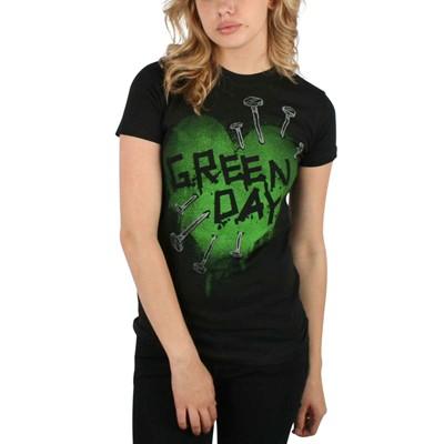 Green Day - Nail Heart Girls T-Shirt In Black