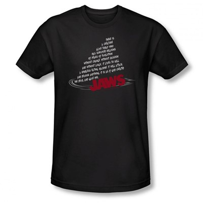 Jaws - Mens Dorsal Text T-Shirt In Black