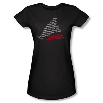Jaws - Womens Dorsal Text T-Shirt In Black