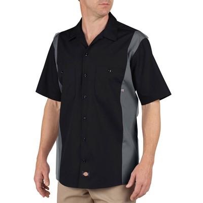 Dickies - Men's Work Short Sleeve Bk/Ch 2Tone Dow Shirt
