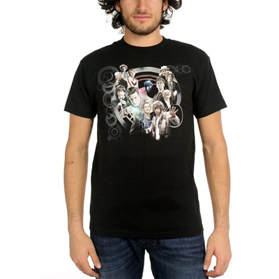 Dr. Who - Mens All Doctors & Tardis Collage T-Shirt in Black