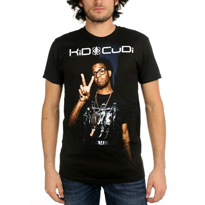 Kid Cudi - Peace Sign Photo Mens T-Shirt In Black