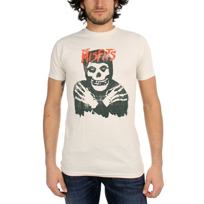 The Misfits - Classic Skull (Distressed)  Mens T-Shirt In Vintage White