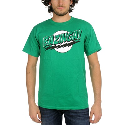 Big Bang Theory - Bazinga Green Lantern Colors Mens T-Shirt in Green