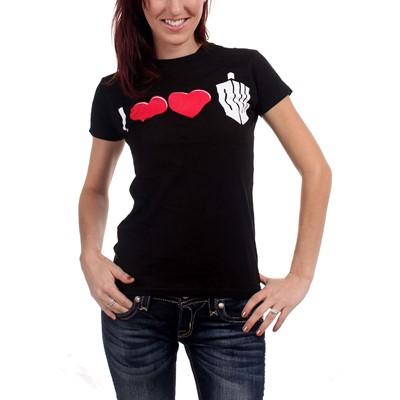 Dr. Who - Womens Double Heart T-shirt in Black