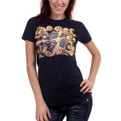Dr. Who - Womens Van Gogh Pandoric Opens T-shirt in Navy