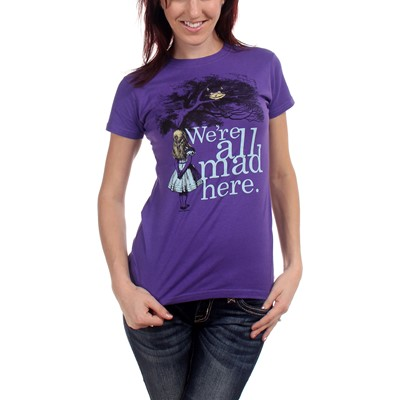 Alice's Adventures In Wonderland - We're All Mad Here. Womens T-Shirt In Purple