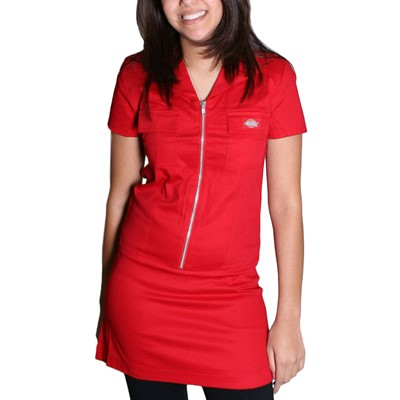 Dickies Girl Annie Zipper Front Dress in Red