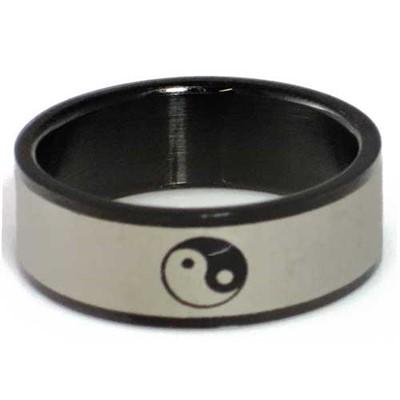 Blackline Ying Yang Design Stainless Steel Ring by BodyPUNKS (RBS-031)