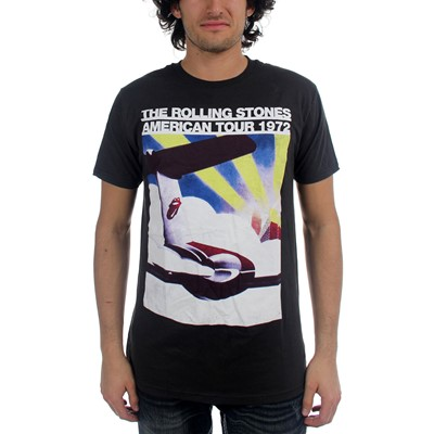 Rolling Stones - Us Tour Plane 30/1 Enzyme Washed Mens T-Shirt In Black