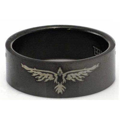 Blackline Bird Wings Design Stainless Steel Ring by BodyPUNKS (RBS-005)