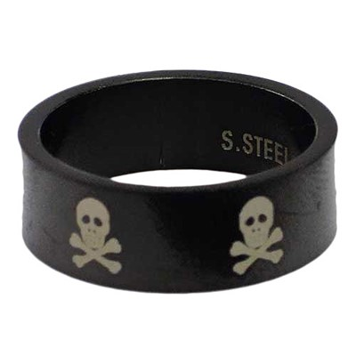 Blackline Skulls Design Stainless Steel Ring by BodyPUNKS (RBS-019)