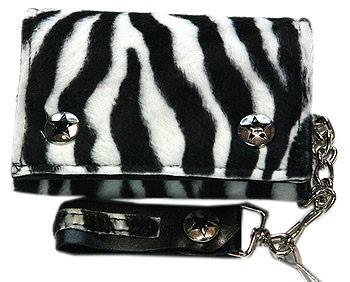 Black and White Fuzzy Zebra Print w/ Chain